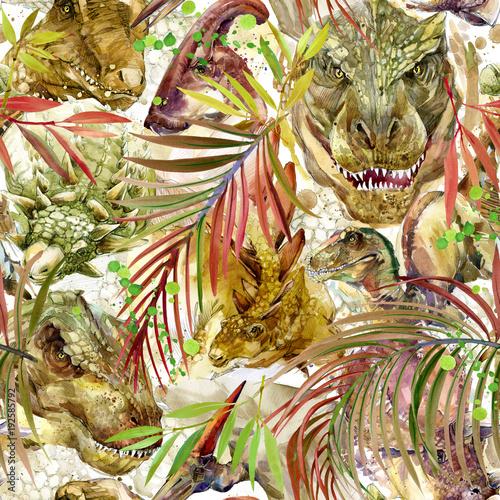 Materiał do szycia Dinozaury jednolity wzór. Dłoń akwarela ilustracja