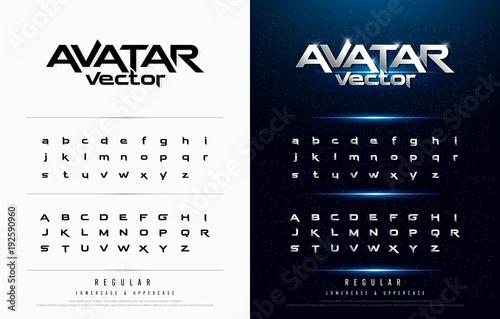 Valokuva  Technology alphabet silver metallic and effect designs for logo, Poster, Invitation