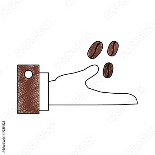 Hand With Coffee Beans Icon Vector Illustration Graphic Design Buy