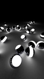 Neon balls on a black background. Abstract chaotic glowing spheres. Futuristic background. Hi-res illustration for your brochure, flyer, banner designs and other projects. 3d render illustration.