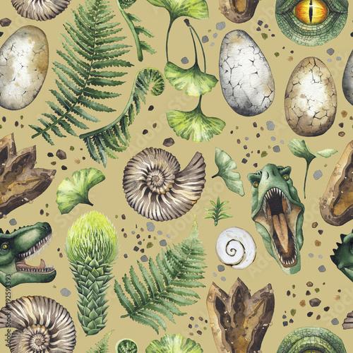 Fotomural Watercolor prehistoric collection