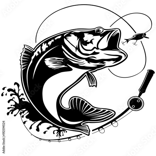 Fotografie, Tablou Fishing bass logo isolated