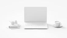 Laptop Computer Monitor In Weiß Im Büro