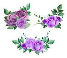 Watercolor Purple Roses Bouque...