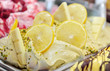 Tasty appetizing sweet ice cream with lemon and white chocolate