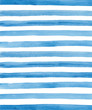 Watercolor blue and white stripes background. Hand painted lines