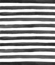 Watercolor Black And White Stripes Background. Hand Painted Gray Lines