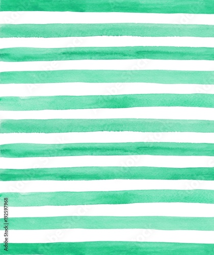 Naklejka Watercolor green and white stripes background. Hand painted lines