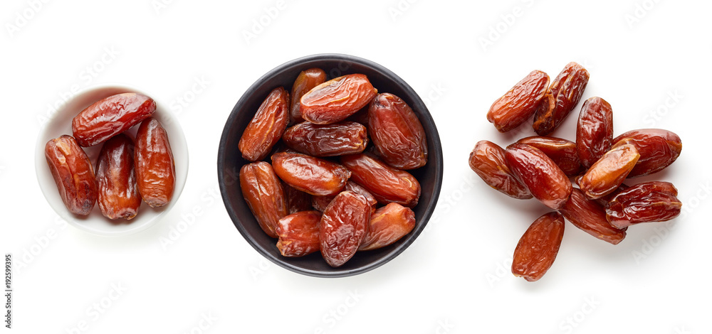 Fototapety, obrazy: Pitted dates isolated on white from above