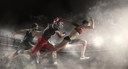 Multi sports collage about basketball, American football players and fit runn...