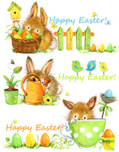 Happy Easter. Easter Elements Set Of Banners. Cute Bunny Watercolor Illustration