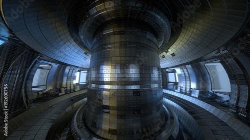 Fusion reactor Tokamak. Reaction chamber. Fusion power. 3D illustration