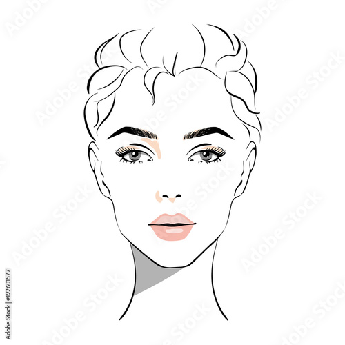 Beautiful Woman Face With Nude Make-Up Hand Drawn Vector -9697