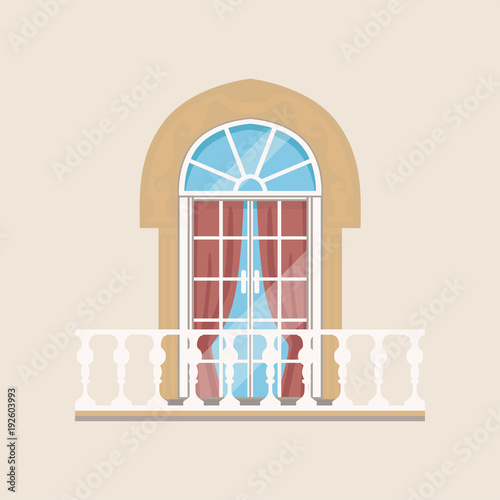 Fotografía Balcony with stone balusters and arched window vector Illustration