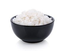 Rice In Black Bowl On White Ba...