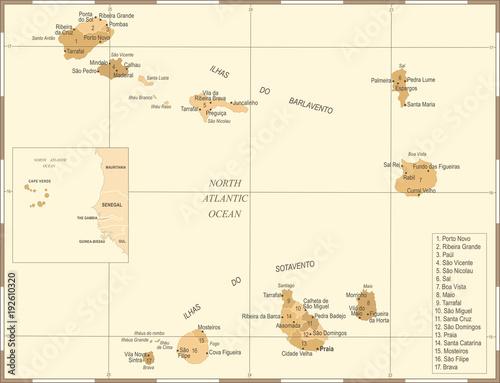Cape Verde Map - Vintage Detailed Vector Illustration ...