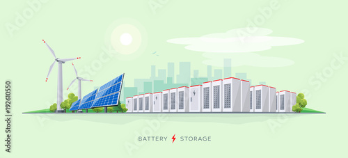 Obraz Vector illustration of large rechargeable lithium-ion battery energy storage stationary and renewable electric power station with solar panels and wind turbines. Backup power energy storage system. - fototapety do salonu