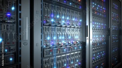 Pinturas sobre lienzo  Server in datacenter. Cloud computing data storage 3d rendering