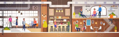 Modern Cafe Interior in loft style. full of People. Restaurant Flat Vector Illustration.