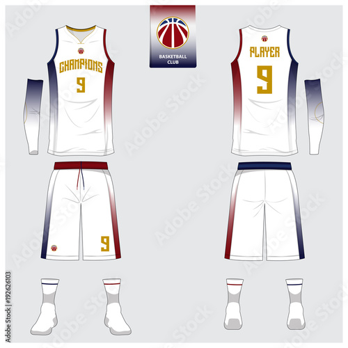 Basketball Jersey Or Sport Uniform Shorts Socks Template For Basketball Club Front And Back View Sport T Shirt Design Tank Top T Shirt Mock Up With Basketball Logo Design Vector Illustration Buy This
