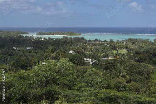 Foto op Aluminium Khaki Rarotonga Cook Islands. Polynesia. Lagoon coast
