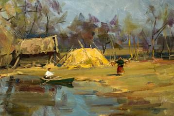 Panel Szklany Wiejski Oil painting, handmade