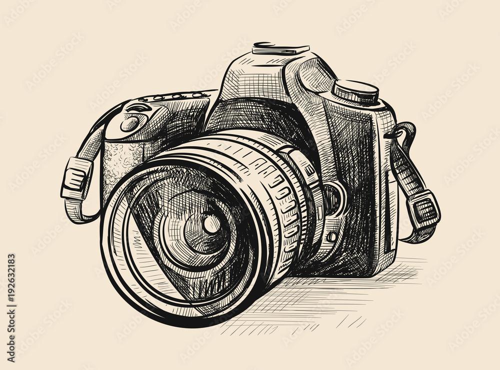 Fototapety, obrazy: Modern camera in doodle style.