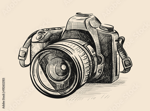 Modern camera in doodle style. Wallpaper Mural