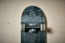 Top View Of Black Used Skatebo...