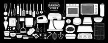 Set Of Isolated Baking Stuff In 55 Pieces. Cute Hand Drawn Kitchen Tools Vector Illustration In White Plane Without Outline.