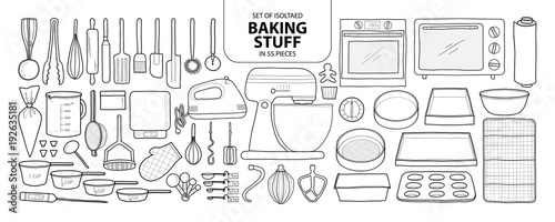 Foto Set of isolated baking stuff in 55 pieces