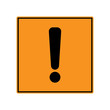 WARNING ICON. Exclamation point (mark) on yellow and black square sign. Vector.