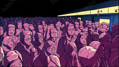 Illustration of crowded metro, subway station. People boarding cart in rush hour.