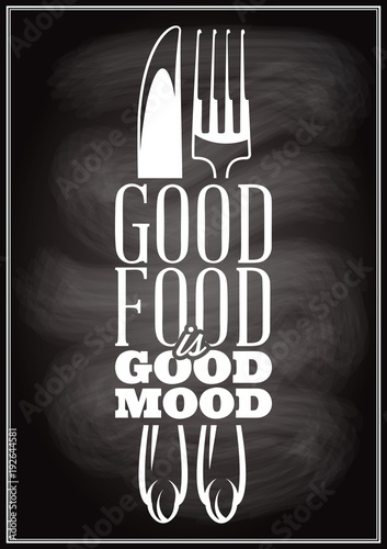 inscription in retro style on theme of eating with cutlery Poster