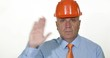 Serious Engineer Salute Gesture Television Interview Building Company Image
