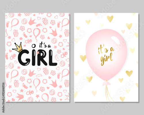 vector set of pink baby shower cards for girls it s a girl card