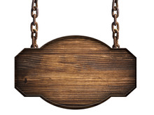 Wooden Sign In Dark Wood Hangi...