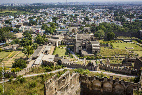 Photo Looking down at the Ruins of Golconda Fort, into the Old Area of the City in Dow