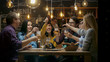 canvas print picture Diverse Group of Friends Celebrate with a Toast and Clink Raised Glasses with Various Drinks in Celebration. Beautiful Young People Have Fun in the Stylish Bar/ Restaurant.