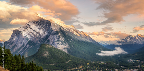 Aluminium Prints Salmon Sunset of Mount Rundle in Banff National Park taken from Norquay