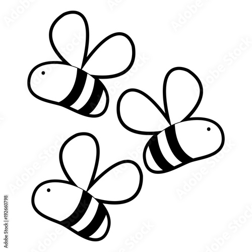 Outline Cute Bees Insect Animal Flying Buy This Stock