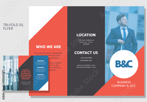 dl size tri fold business brochure layout 2 adobe stock でこの