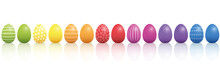Easter Eggs. Lined Up With Dif...