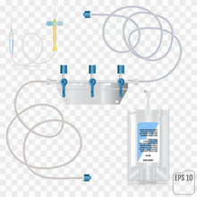 System For Intravenous Infusion With A Reducer. System For Intravenous Infusions With A Converting Device.  Tube And Blood Collection Set. Vector