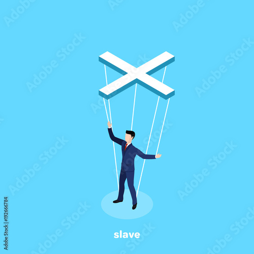 Photo  a man in a business suit hanging on ropes like a puppet, an isometric image