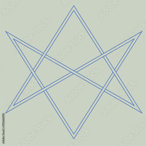 Vector symbol for esoteric community: The unicursal hexagram or six-pointed star drawn unicursally Poster