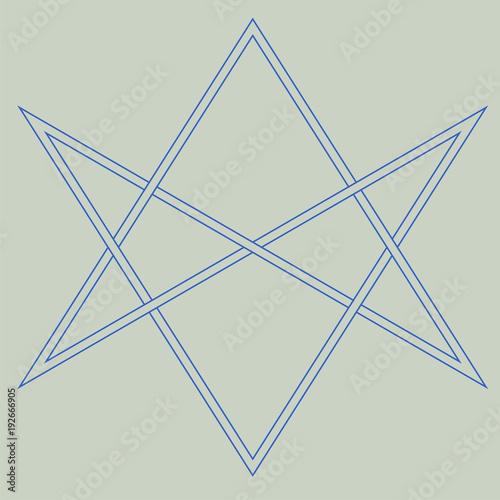 Fotografia  Vector symbol for esoteric community: The unicursal hexagram or six-pointed star drawn unicursally