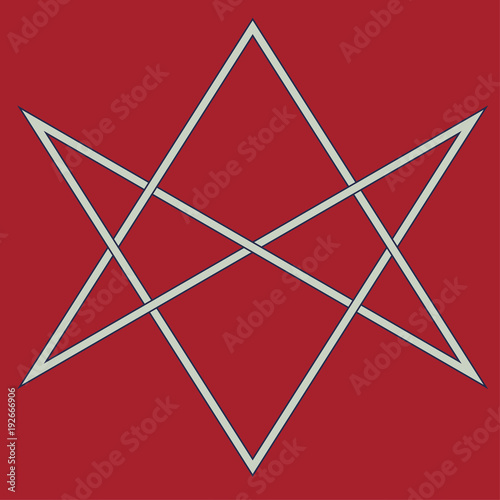 Photo  Vector symbol for esoteric community: The unicursal hexagram or six-pointed star drawn unicursally