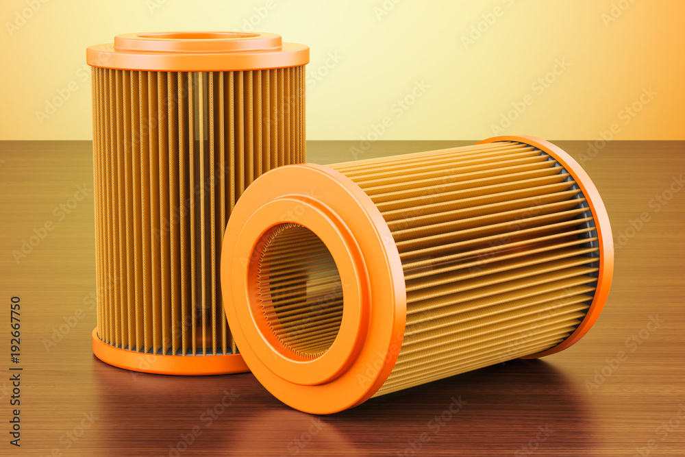Fototapeta Set of car oil filters on the wooden table. 3D rendering