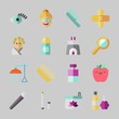 Icons about Beauty with apple, band aid, hair curler, face, cosmetics and sologne
